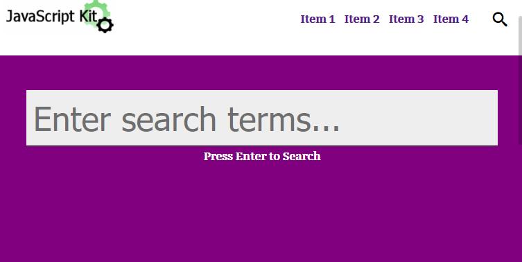 ایجاد فرم جستجوی کامل صفحه نمایش متحرک با CSS3 و جاوا اسکریپت